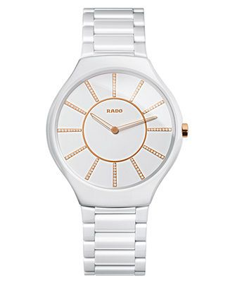 3c6f1b97a Rado Watch, Women's Swiss True Thinline Diamond Accent White Ceramic  Bracelet 39mm R27957702 - Watch Brands - Jewelry & Watches - Macy's