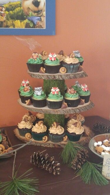 Woodland Animal Cupcakes Woodland First Birthday Party