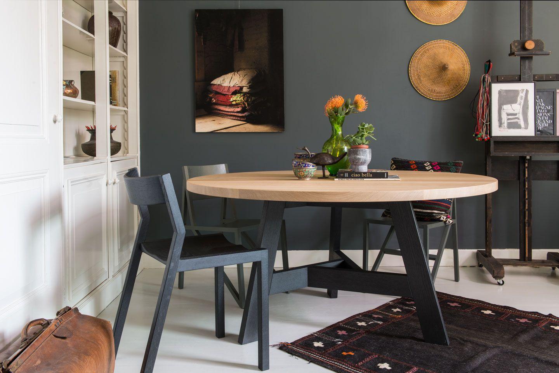 10x Ronde Salontafel : Triround special berken massief eiken en multiplex