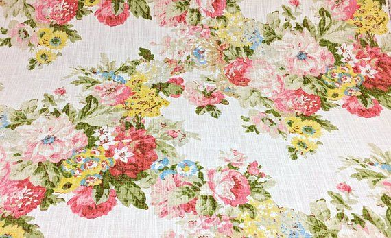 Floral Upholstery Fabric Pink Green Yellow Drapery Maize Home Decor S