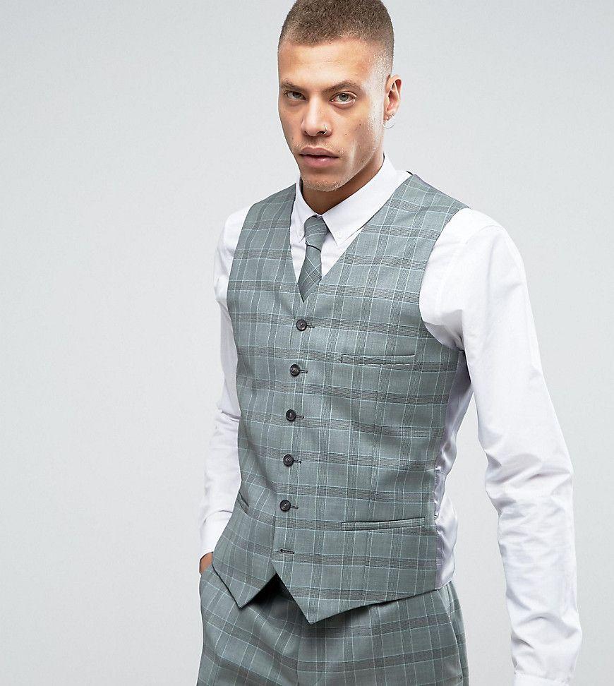 Heart & Dagger Slim Vest In Summer Wedding Check - Green | Products ...