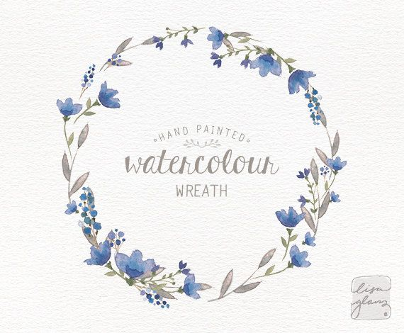 Watercolor wreath hand painted floral wreath clipart  Wedding invitation clip art  commercial