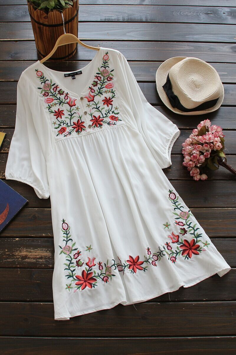 Embroidery Floral Loose Dress | Manga, Bordado y Vestiditos