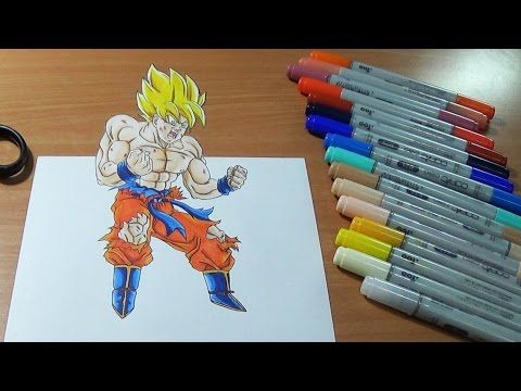 3D Drawing Dragon Ball Z Goku Spirit Bomb Dibujo 3D Goku spirit