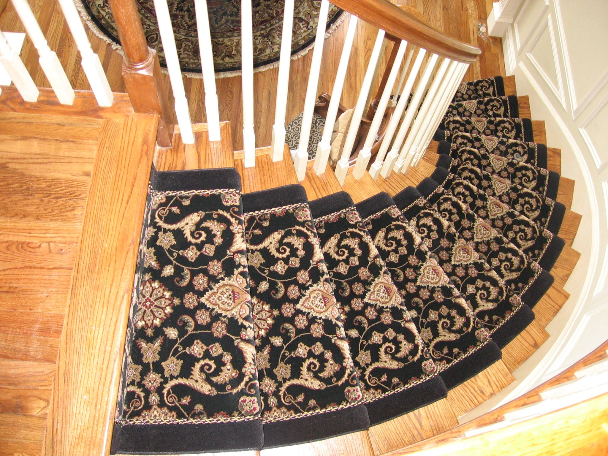 Custom-made stair runner, with rope inset, a proprietary process ...