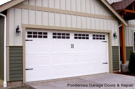 Traditional Raised Panel Garage Door White With Windows And Black Hardware