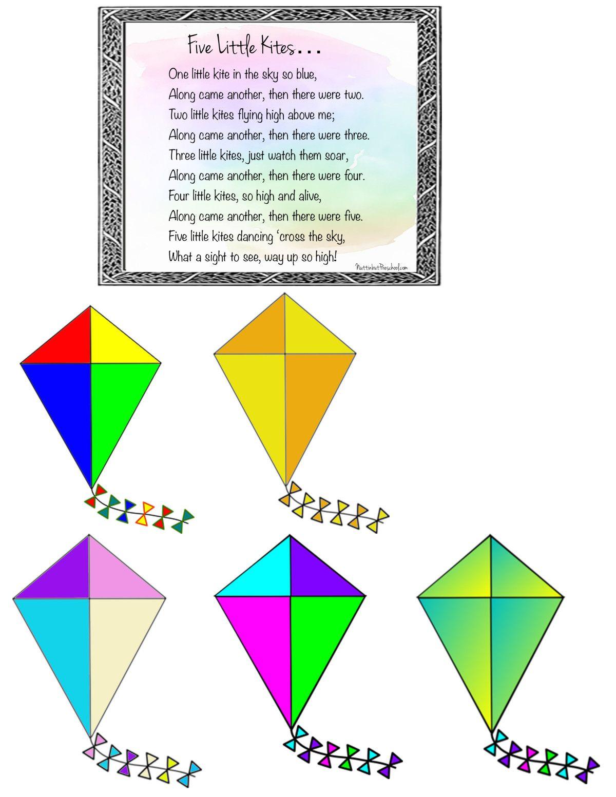 5 Kites Flannel Board or Felt Board Activity Printable