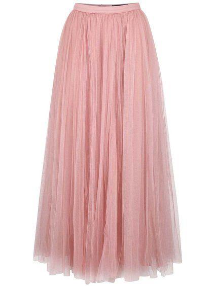 7b9c51617a48 Růžová tylová maxi sukně Little Mistress