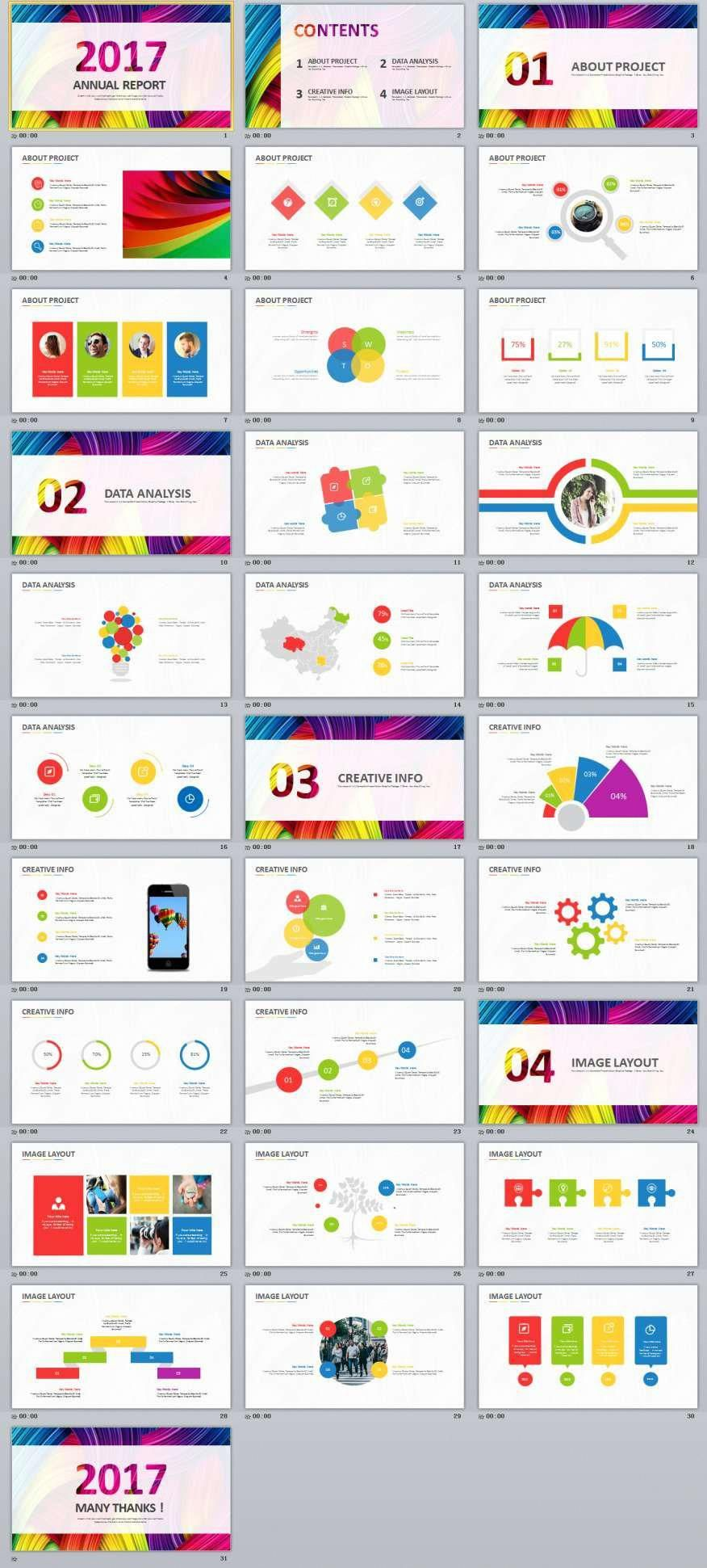 31 multicolor business report powerpoint templates