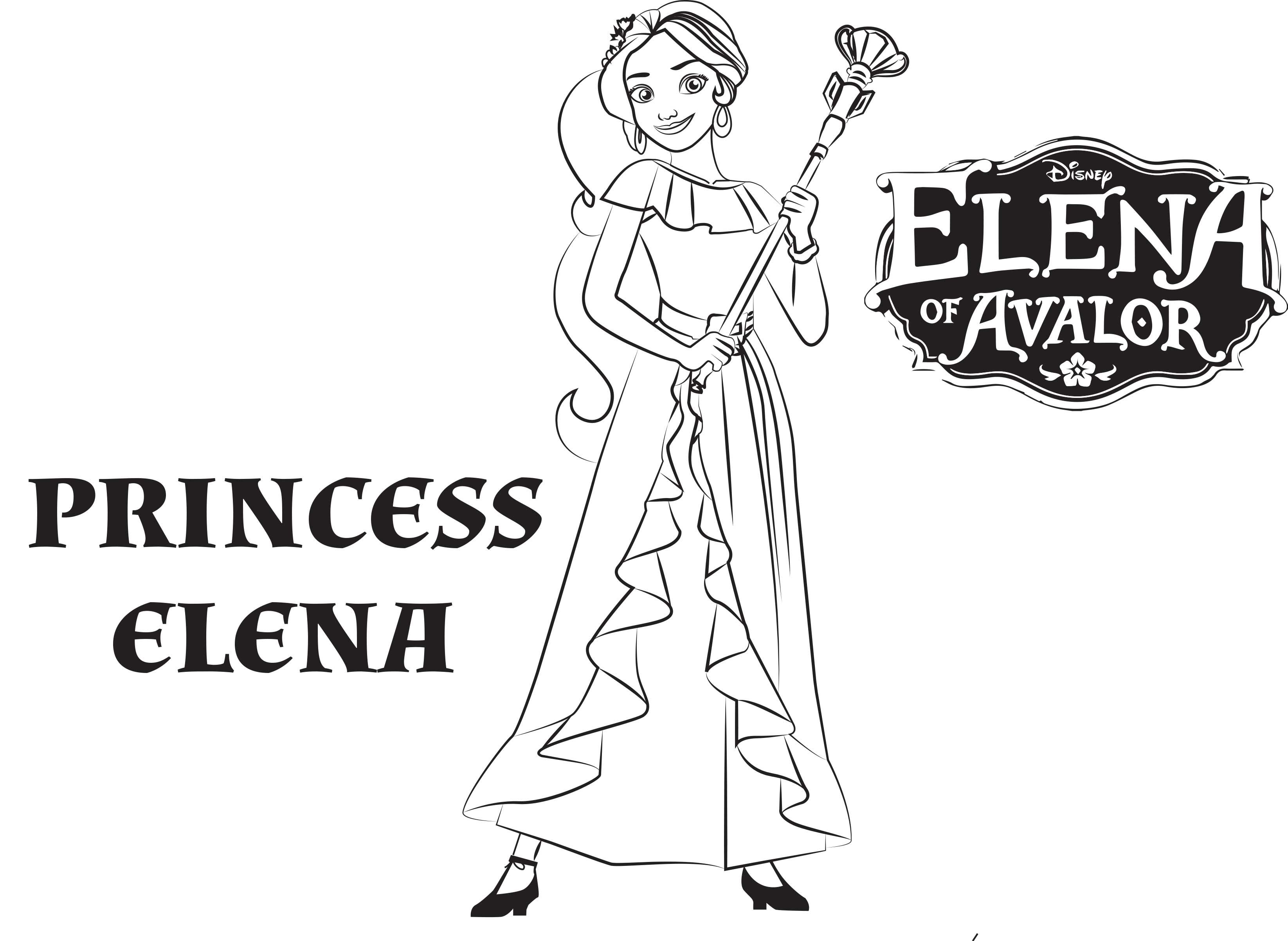 Coloring book disney princess - Princess Elena Of Avalor Free Printable Coloring Page Sheet
