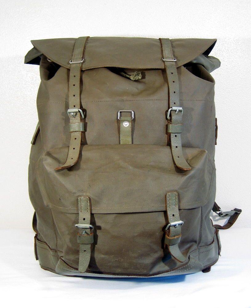 5683ebf57b Vintage BIG SWISS ARMY RUCKSACK Waterproof Surplus Military Backpack  Rubberized