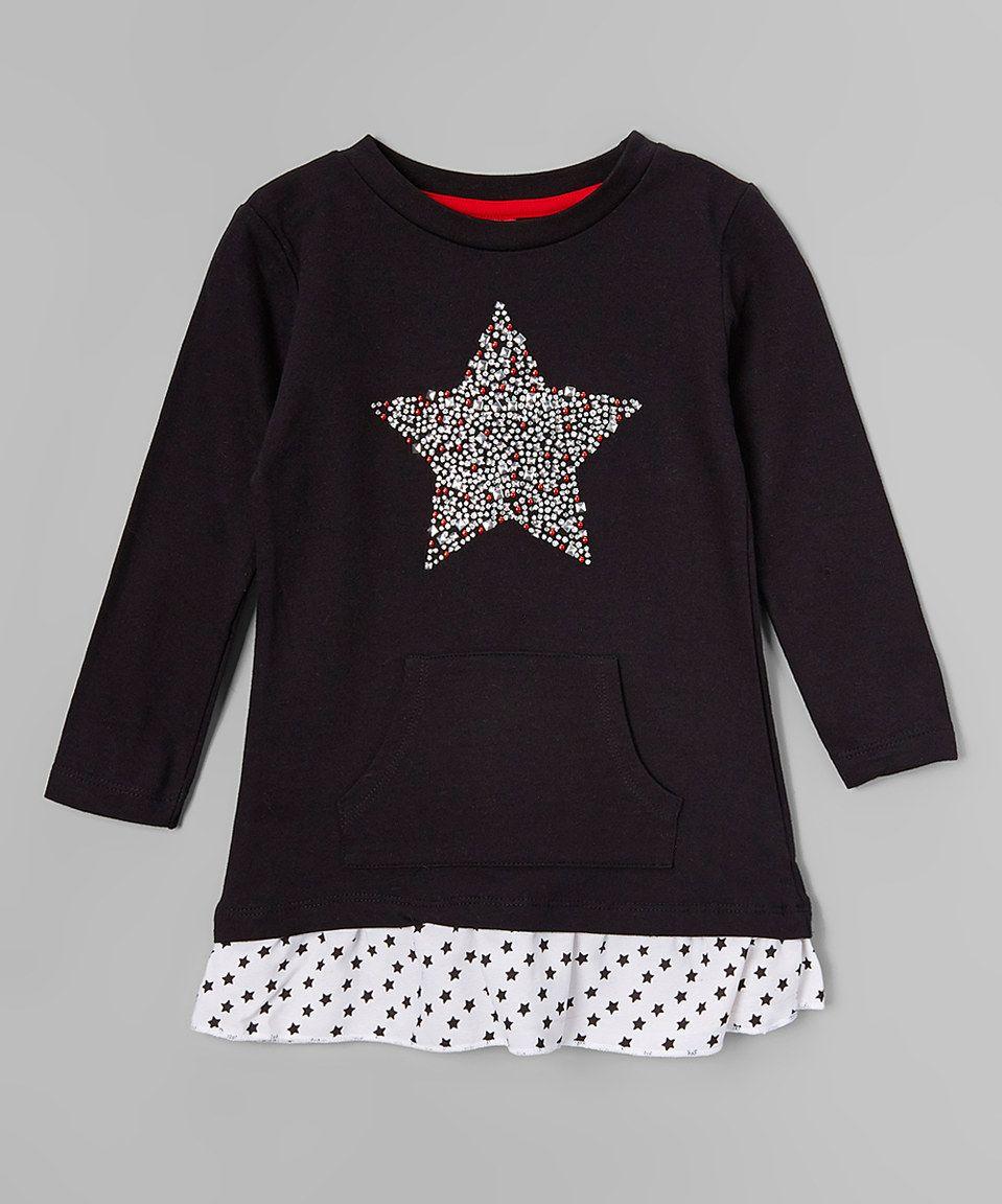 Look at this zulilyfind star ride kids black star pocket dress