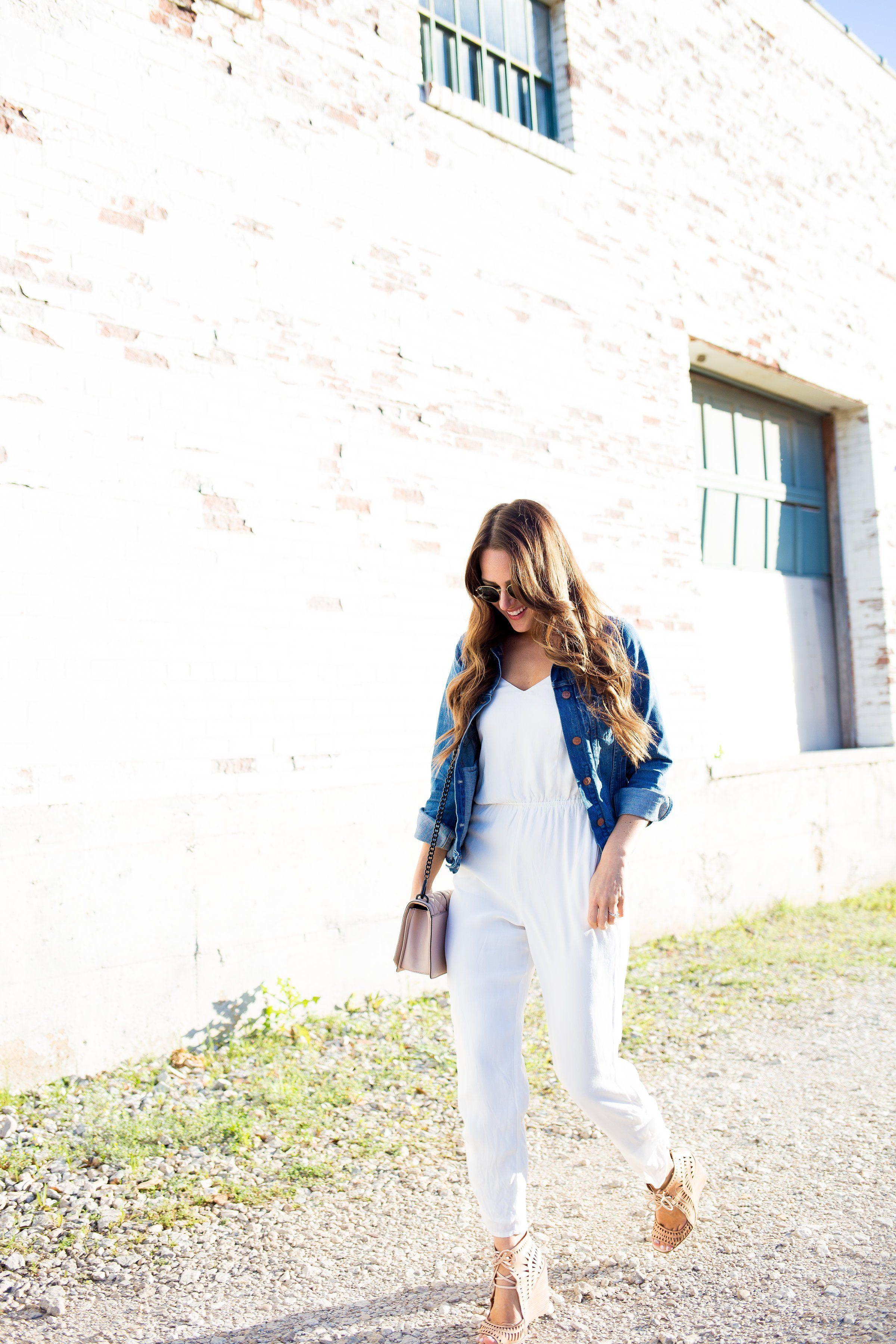 6abbabe8251a White Jumpsuit + Denim Jacket - A Lo Profile