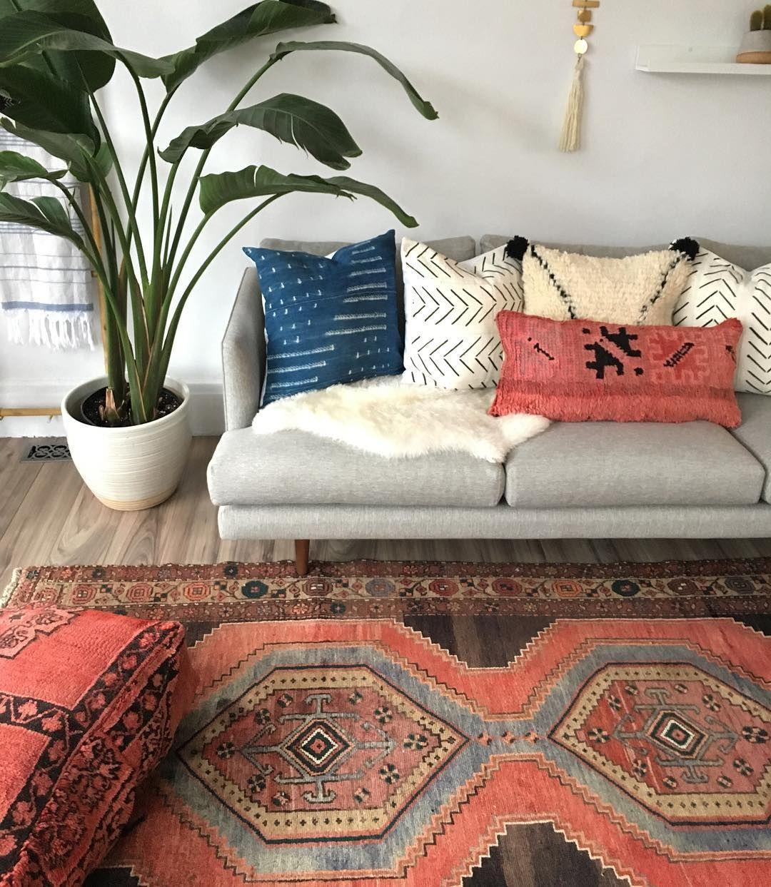 Vintage persian rug boujad pillow  floor also