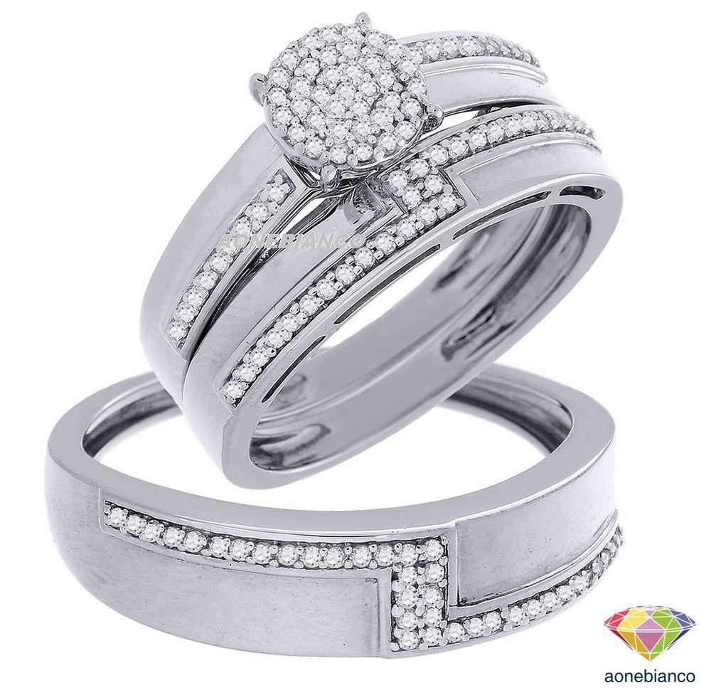 10K White Gold Men Women His Her Diamond Engagement Bridal Wedding Trio Ring Set Aonebianco