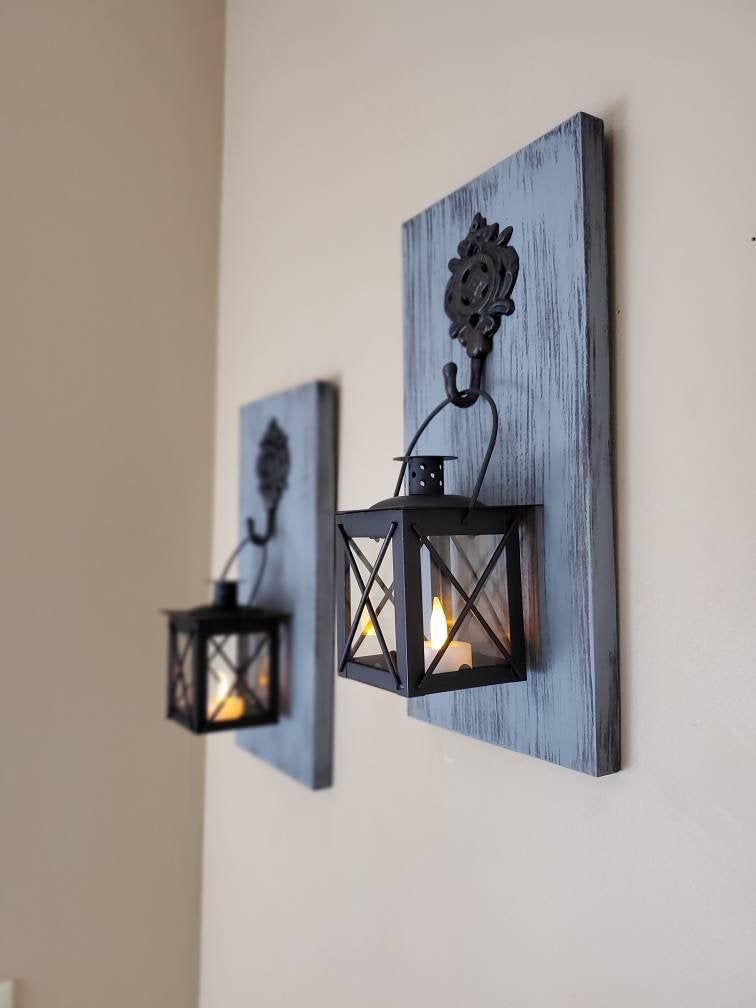 Rustic Wall Decor Wall Sconce Candles Tealight Candle Holders Lighted Wall Sconce Hanging La In 2020 Candle Wall Sconces Rustic Wall Sconces Rustic Wood Wall Decor