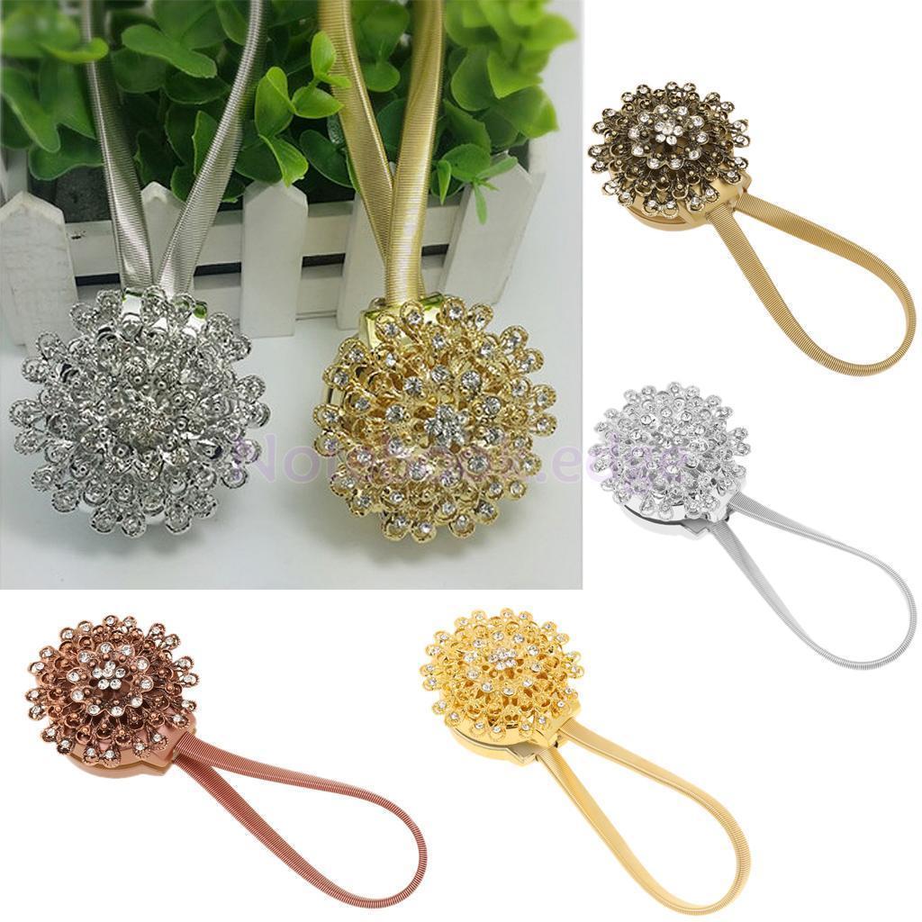 Magnet Crystal Rhinestone Flower Curtain Drapery Tie-Back Buckle Holdback Hook