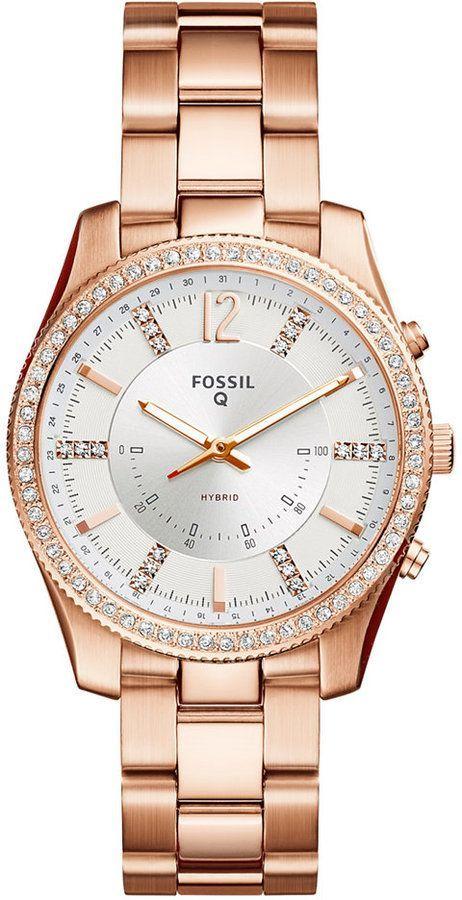 c15384e44 Fossil Q Women's Scarlette Rose Gold-Tone Stainless Steel Bracelet Hybrid  Smart Watch 38mm