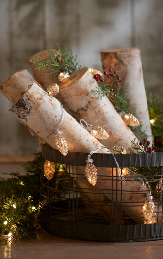 Sometimes it's the little details that add the most charm: our strand of Mercury Glass Pinecone Lights adds that extra bit of shine and glow to ensure your tableaux have the warmth you're looking for.