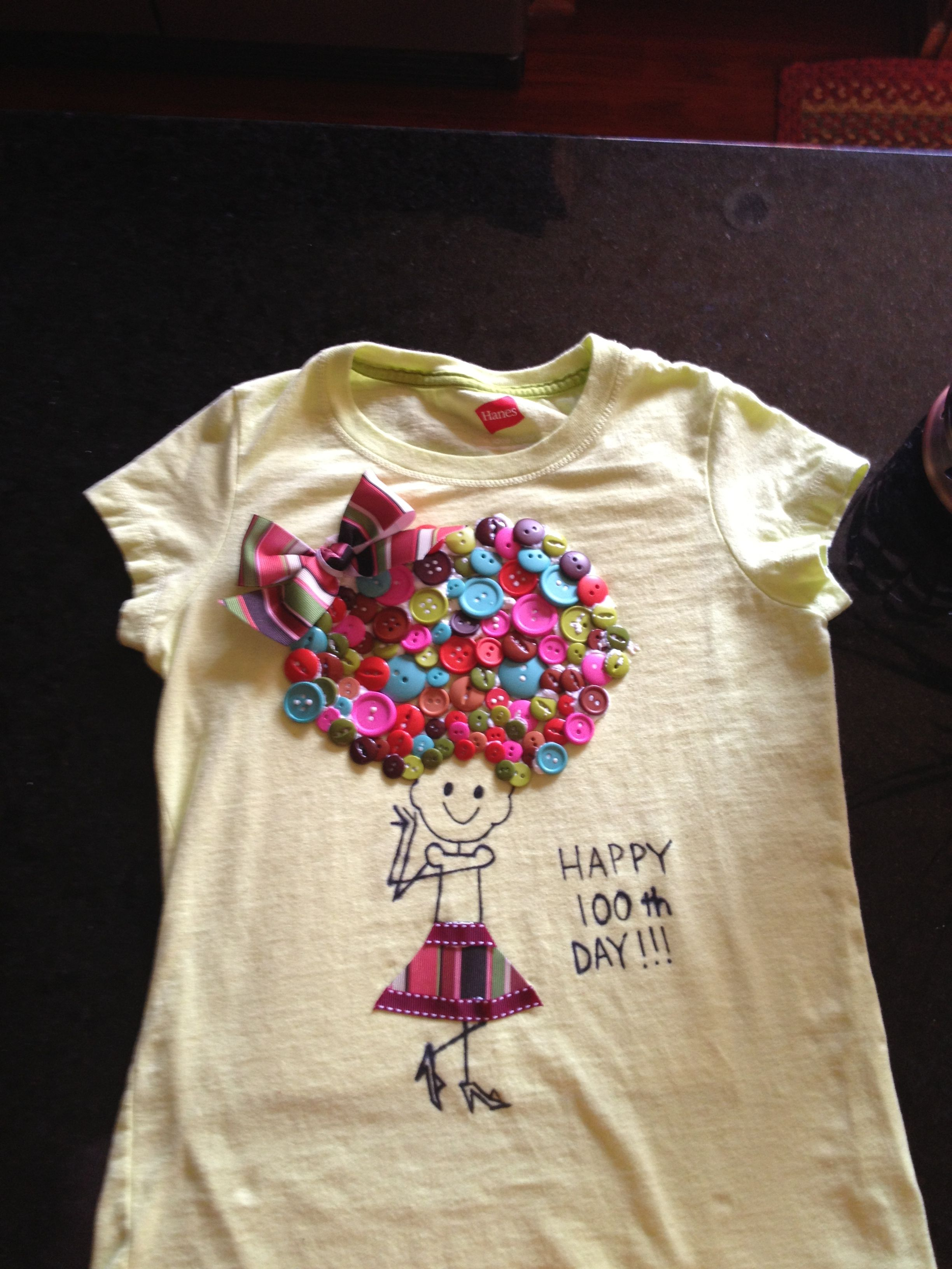 100th Day Of School Tshirt 100 Buttons Of Hair 100 Day Shirt