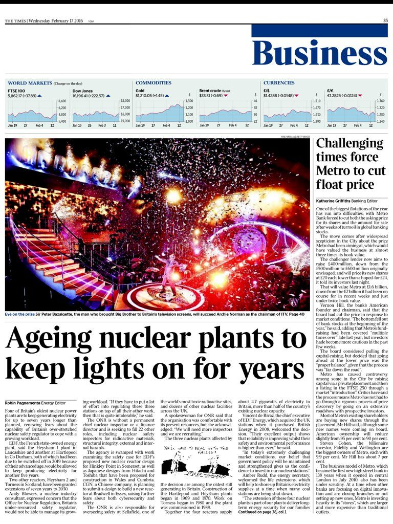 Wednesday's Times Business: Ageing nuclear plants to keep lights on for years #tomorrowspaperstoday #bbcpapers https://t.co/ovt5MqUVBq
