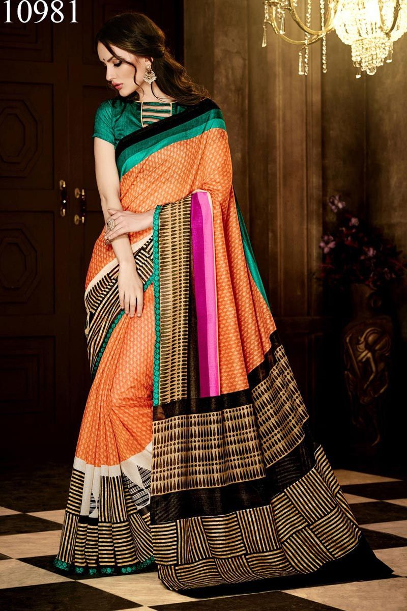 Orange Handloom Silk Designer Saree with Green Handloom Silk Blouse