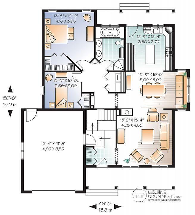 Nice Plan De Rez De Chaussée Bungalow De 2 Chambres Avec Galerie Couverte Et  Grand