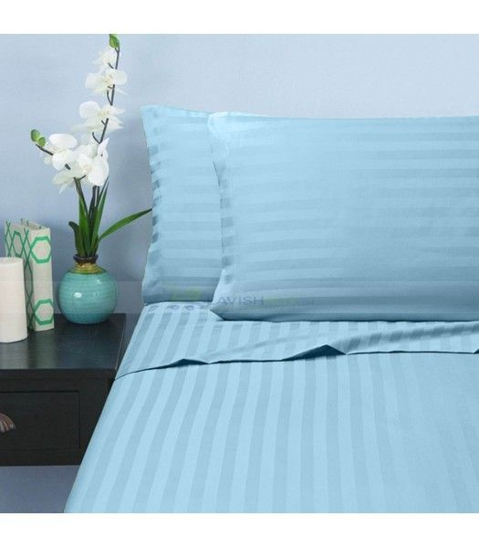Light Blue Stripe Egyptian Cotton Bedding Sheet Set 1000 Thread Count