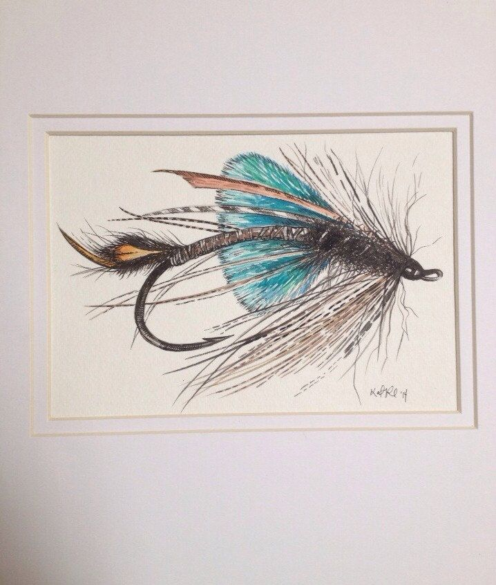 Original Matted Watercolor Pen Ink Single Fly Lure Fly