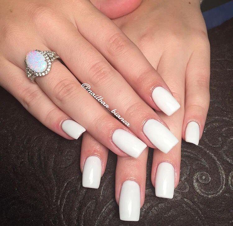 White Winter Nails By Bianca White Nails Long Winter Square Trendy Nails Fake Nails Designs Toe Nail Color