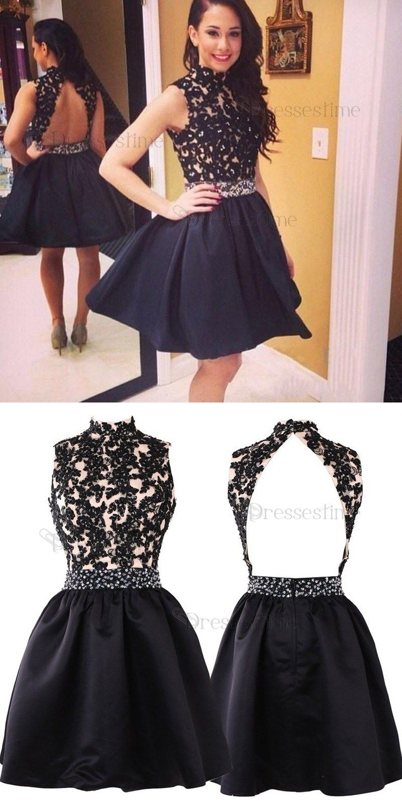 Aline high neck open back black satin short homecoming dress with