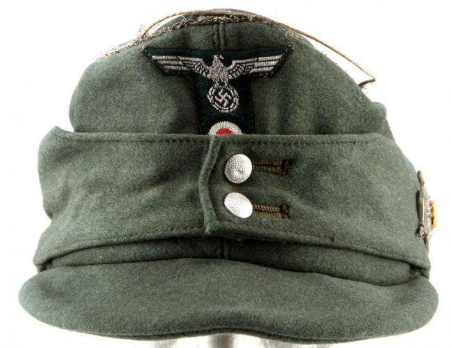 WWII THIRD REICH GERMAN M43 FIELD CAP W EDELWEISS  6d085034215