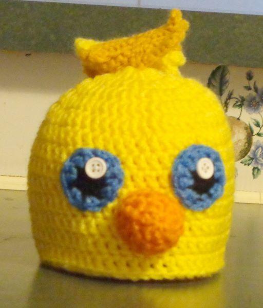 Chocobo crochet hat.  https://www.etsy.com/shop/Ba11sOfYarn