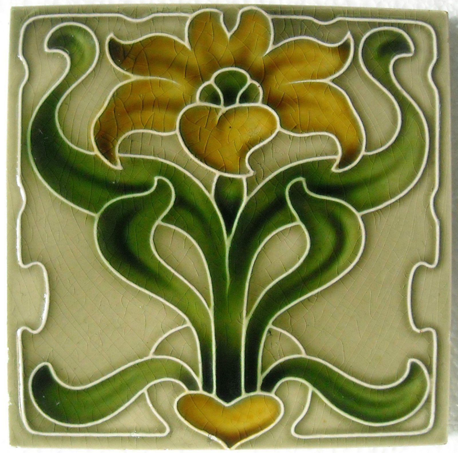 England antique art nouveau majolica tile c1900 ebay 406 art art nouveau ceramic decorative wall tile 6 x 6 inches dailygadgetfo Choice Image