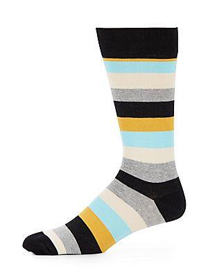 Happy Socks Multicolored Striped Cotton-Blend Socks - Black  - Size No