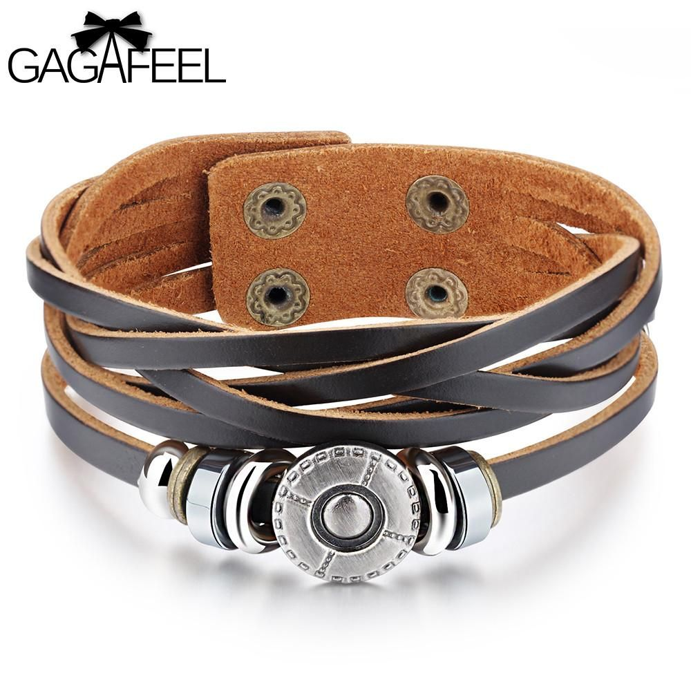 Gagafeel cowhide leather bracelets cuff for men male fashion punk
