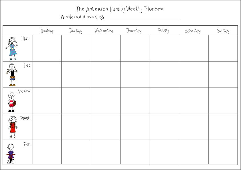 Weekly Family Planner Calendar Weekly Family Planner Family