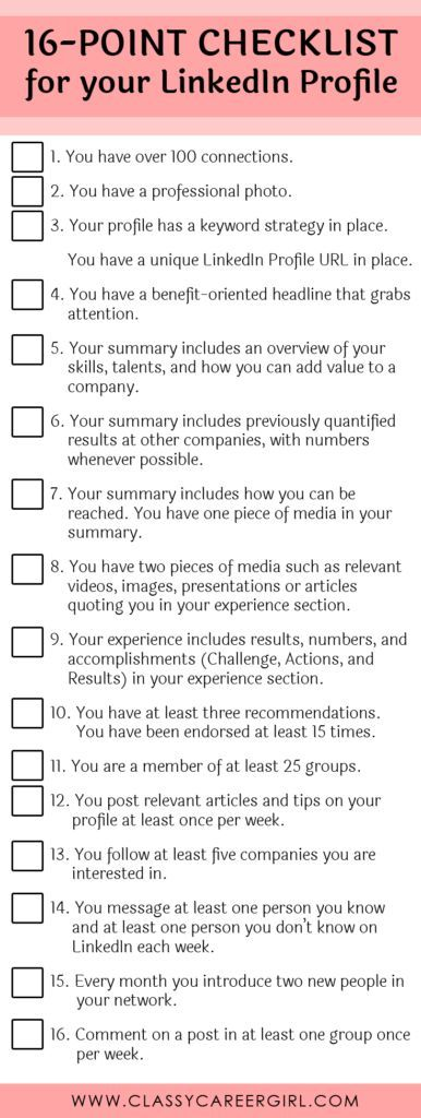 LinkedIn Profile 16-Point Checklist Career, Career advice and - find resumes on linkedin