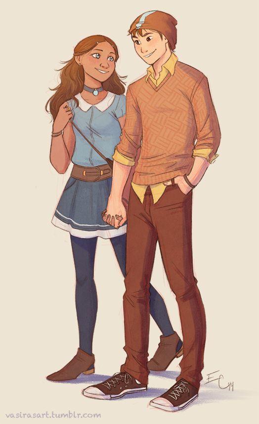 Katara and Aang. Lovin' the beanie ;)