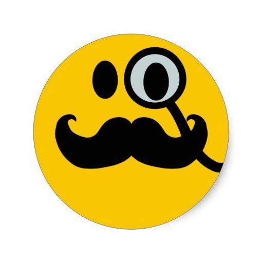 Monocle Mustache Customizable Backgrnd Classic Round Sticker