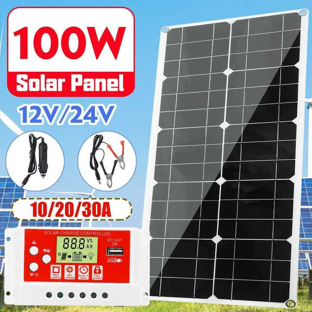 100w Solar Panel Dual Usb Power Bank Board With Car Charger 12v 24v 10 20 30a Kinco Battery Usb Charger Dual Usb Solar Charger Portable