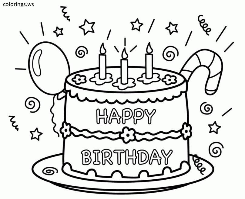 photograph regarding Birthday Cake Printable titled Pleased Birthday Cake Coloring Web page Printable, Joyful Birthday