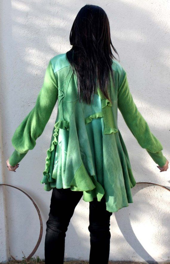 lawn green ruffle handmade cashmere sweater by movieboyproductions