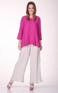 69163f6427 Match Point Linen Capri Pants With Elastic and Flowing Ruffle ...