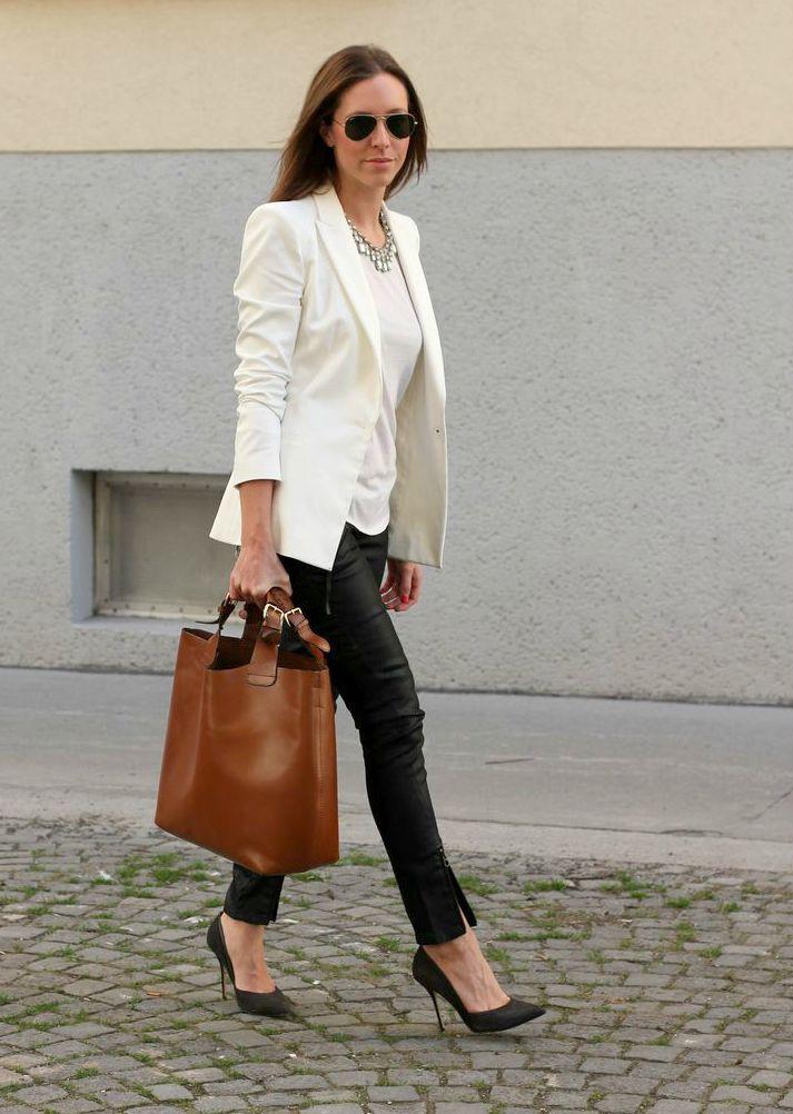 Black Heels Black Coated Jeans White Blazer Statement Necklace