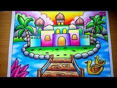 Cara Menggambar Pemandangan Pulau Dan Masjid Yang Mudah Drawing