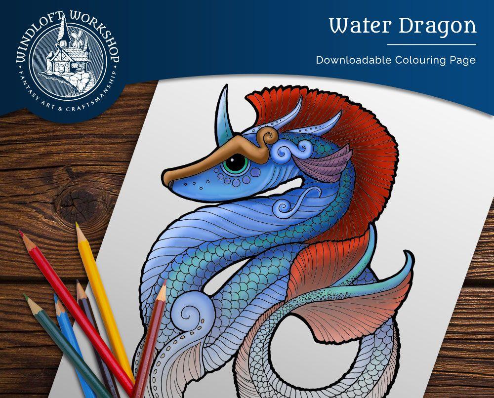 Water Dragon Coloring Page Sea Serpent Leviathan Sea Etsy Dragon Coloring Page Digital Art Fantasy Fantasy Art Warrior