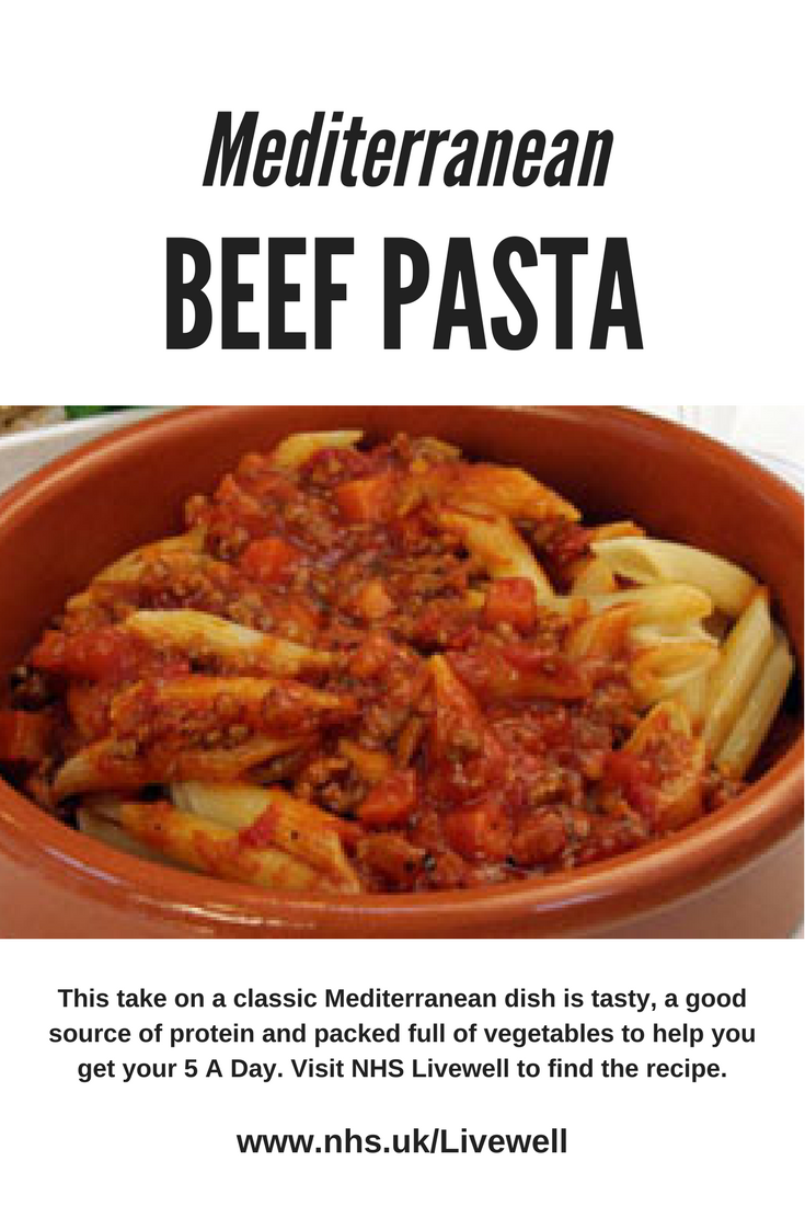 A healthy Mediterranean beef pasta from NHS LIveWell
