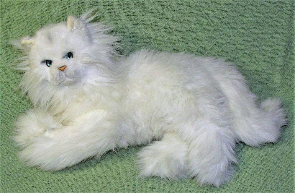 Vintage Russ Fancy Feast Cat White Persian Plush Stuffed Animal Friskies Korea Cat Plush Persian Cat White Stuffed Animal Cat