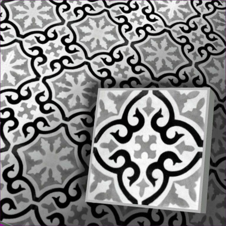 Zementfliese Motivfliese Dekor Iraquia 143, mehrfarbig schwarz - wohnzimmer schwarz weis grau